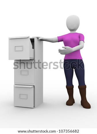 Gir with a metallic drawer. Office furniture - stock photo
