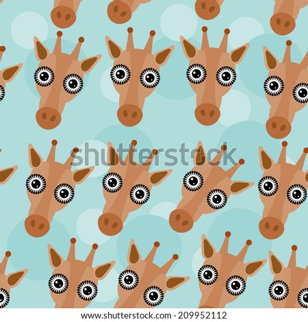 Giraffe Seamless pattern with funny cute animal face on a blue background.  - stock photo