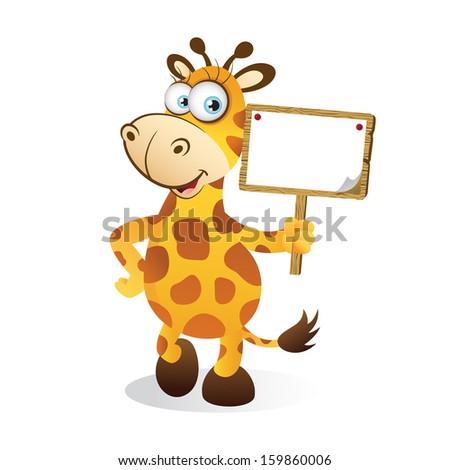 Giraffe with Blank Sign - stock photo