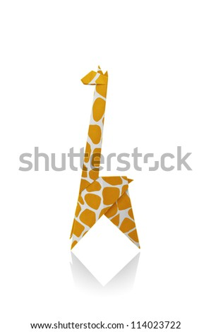 Giraffe Yellow paper isolated on a white background, Origami. - stock photo