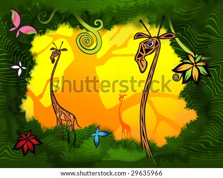 giraffes in the exotic jungle background
