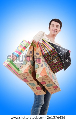Girl after the shopping spree - stock photo