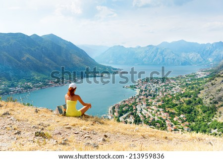 Girl against the sea - stock photo