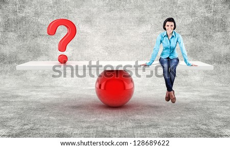 Girl and a question symbol on scales show balance - stock photo