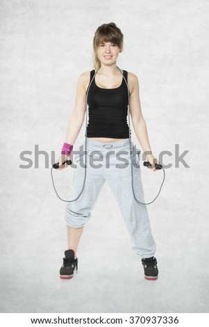 girl and aerobics - stock photo