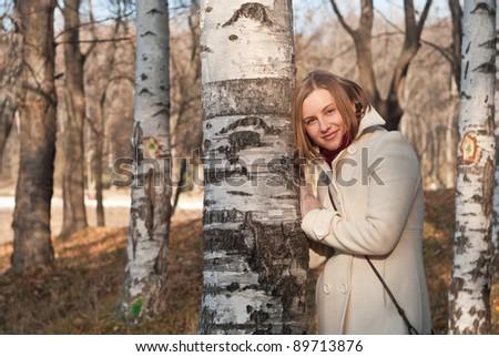 girl and birch - stock photo