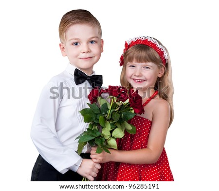 Girl and boy greeting with flowers isolated over white - stock photo