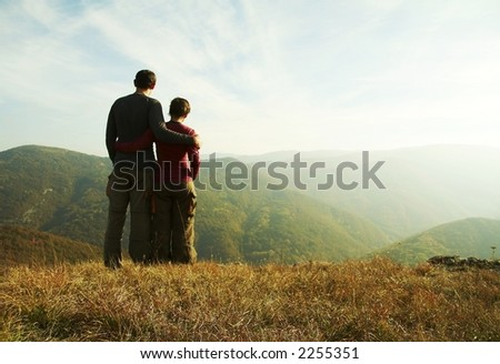 Girl and boy overview landscape - stock photo