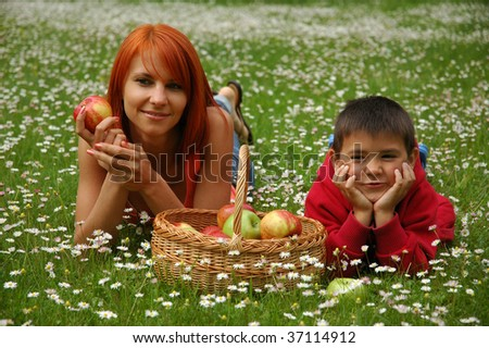 girl and boy with apples