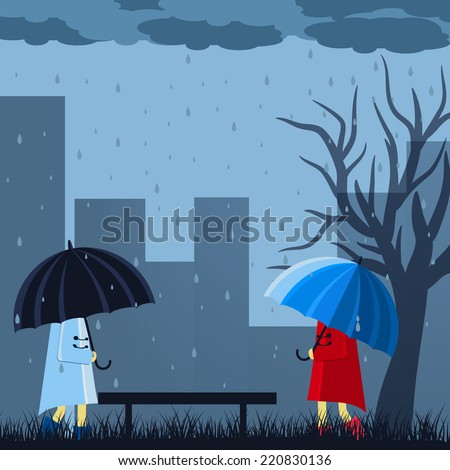 Girl and boy with umbrella in a autumn raining day background concept. illustration design - stock photo