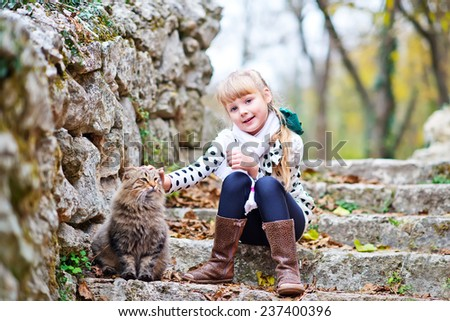 girl and cat - stock photo