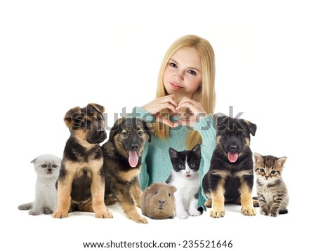 girl and cat and dog - stock photo