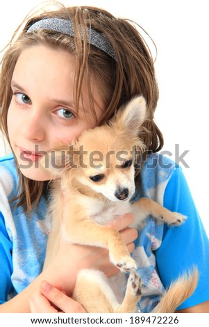 girl and chihuahua isolated on the white background