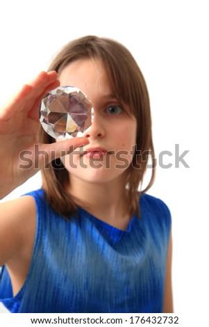 girl and diamond - stock photo