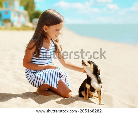 Girl and dog on the beach in summer day - stock photo