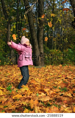 Girl and gold foliage