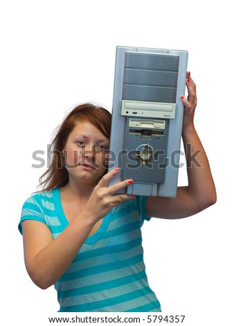 Girl and old computer, isolated on white background - stock photo