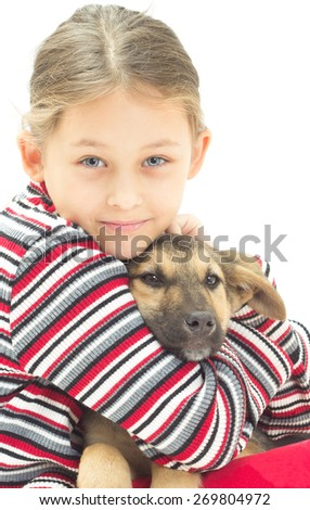 Girl and Puppy - stock photo