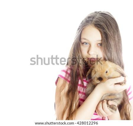 Girl and rabbit - stock photo
