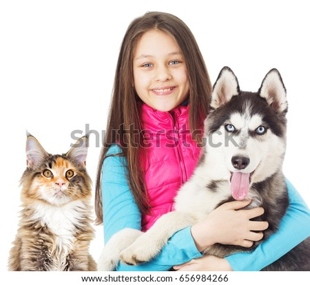 Girl and Siberian husky dog and cat on white background