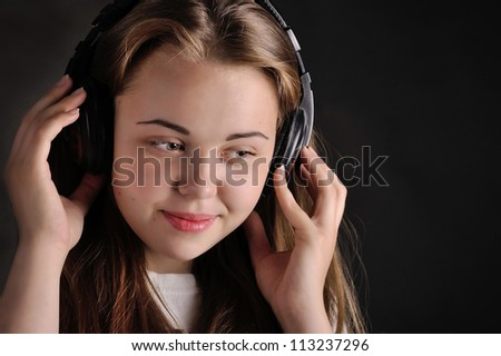 girl  and sound - stock photo