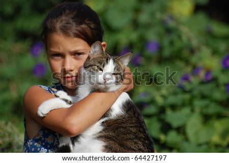 Girl and the cat - stock photo