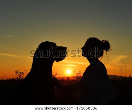 girl and the dane dog on sunset - stock photo