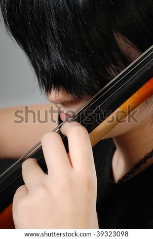 girl and violoncello - stock photo