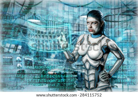 Girl android - stock photo