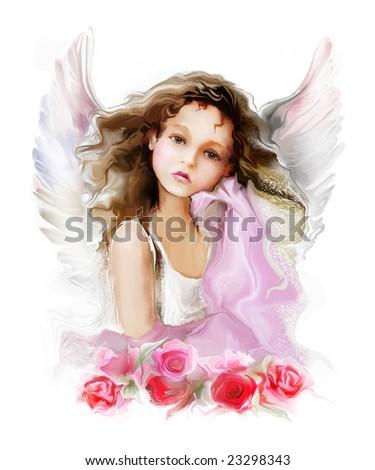girl angel - stock photo