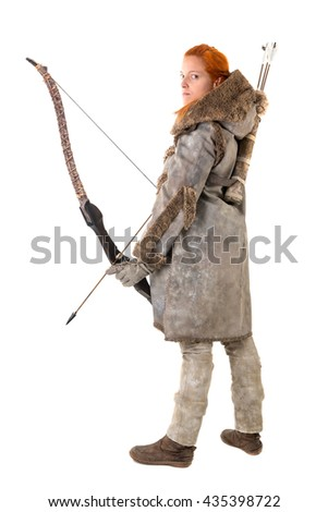 girl archer in a costume with bow isolated in white
