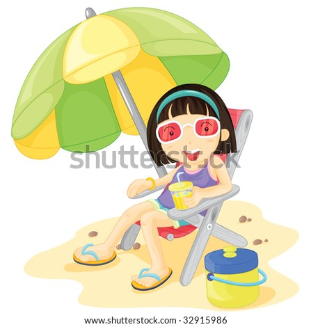 girl at beach (vector illustration also available in portfolio)