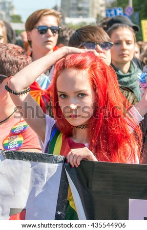 Girl at Kiev gay pride parade. 12 June 2016. - stock photo