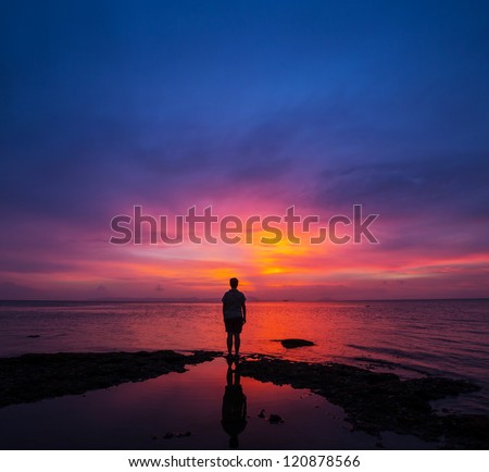 girl at Sunset - stock photo