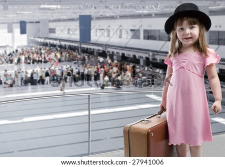 Girl at the airport - stock photo