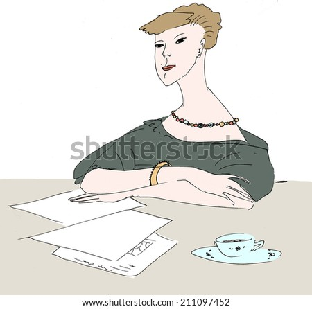 Girl at the table hand drawn illustration - stock photo