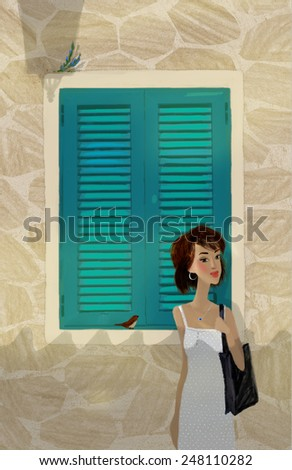 Girl-at-the-teal-window. Digital art of the young women in the sunny day, in front of the teal window. - stock photo
