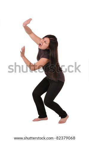 Girl badly frightened, isolated on white - stock photo