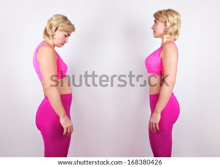 Girl before and after. Healthy lifestyle - stock photo