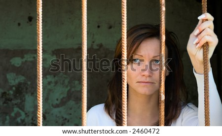 Girl behind a lattice