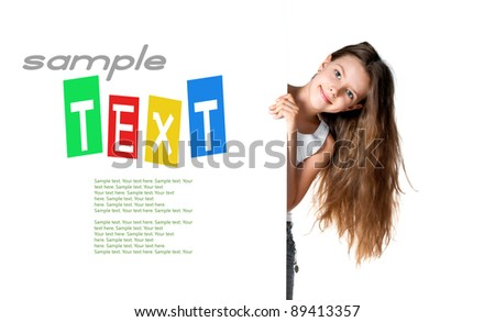 girl beside a white blankwith sample text - stock photo