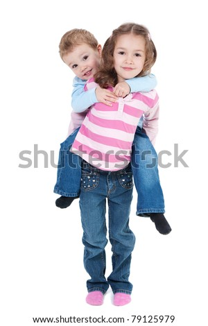 Girl carrying boy on back. Isolated on white