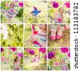 girl celebrating birthday in park. collage - stock photo