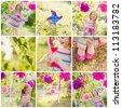 girl celebrating birthday in park. collage - stock photo