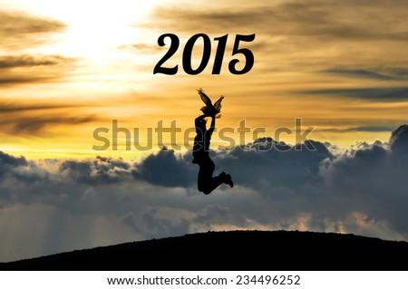 Girl celebrating the new year - stock photo