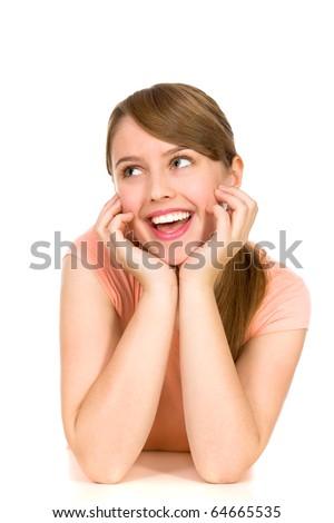 Girl cheering - stock photo
