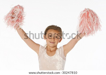Girl cheering in pink - stock photo