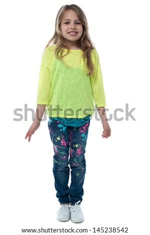 Girl child in fashionable trendy clothes
