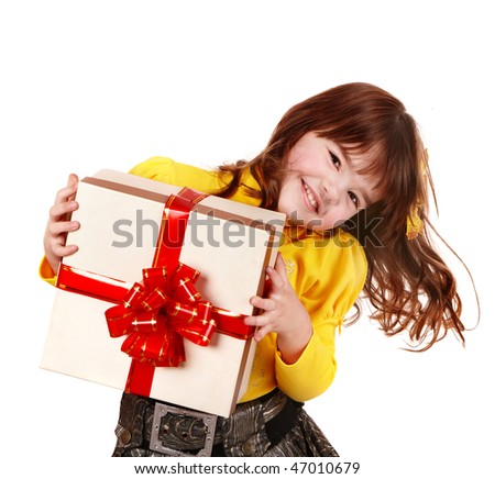 Girl child in yellow with gift box. Isolated. - stock photo