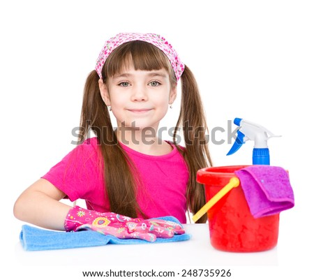 girl cleans the house. isolated on white background - stock photo